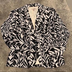 Rox & Ali black & white leaf print blazer